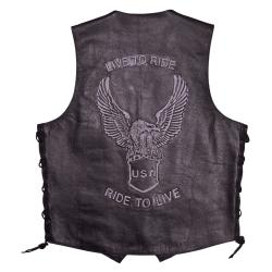 Mossi Men's Live To Ride Leather Vest