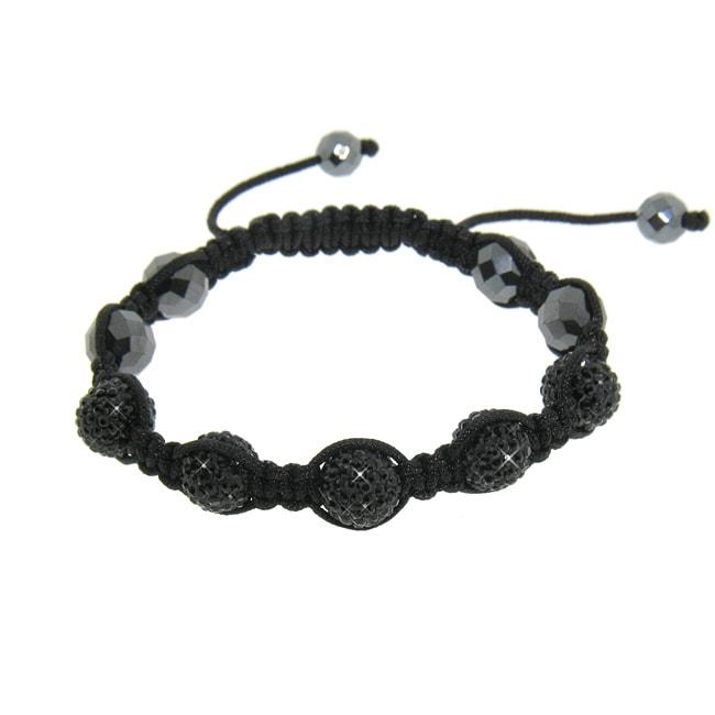 Eternally Haute Hematite and Jet Black Crystal Macrame Bracelet