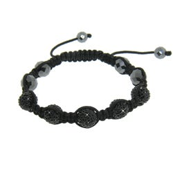 Eternally Haute  Hematite and Jet Black Crystal Macrame Bracelet