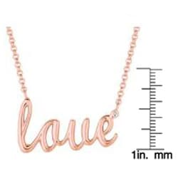 Pink Gold over Silver Diamond Accent 'Love' Necklace (H-I, I2-I3)