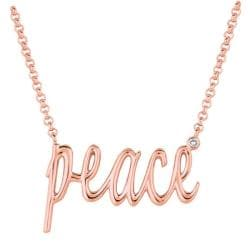 Pink Gold over Silver Diamond Accent 'Peace' Necklace