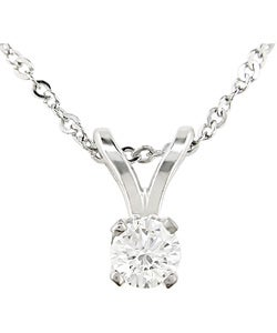 Miadora 14k Gold 1/10ct TDW Diamond Solitaire Necklace (G-H, I1-I2)