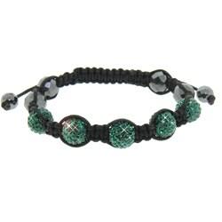 Eternally Haute  Hematite and Emerald Green Crystal Macrame Bracelet