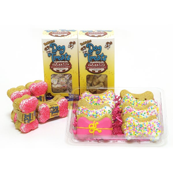 Foppers Pink Happy Birthday 178-piece Dog Treat Gift Set