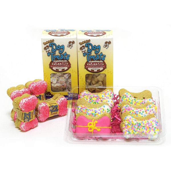 Foppers Pink Happy Birthday 178-piece Dog Treat Gift Set