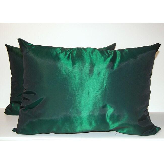 Taffeta Decorative Green Pillows (Set of 2)