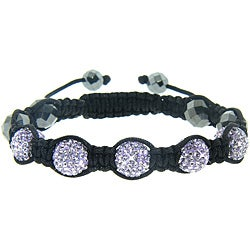 Eternally Haute Hematite and Purple Crystal Macrame Bracelet