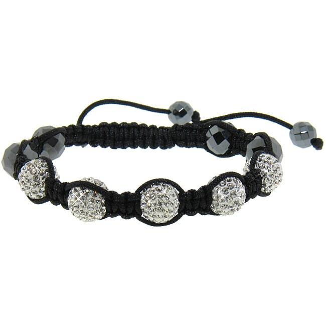 Eternally Haute Hematite and White Crystal Macrame Bracelet