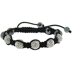 Eternally Haute  Hematite and White Crystal Macrame Bracelet