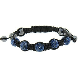Eternally Haute  Hematite and Blue Crystal Macrame Bracelet