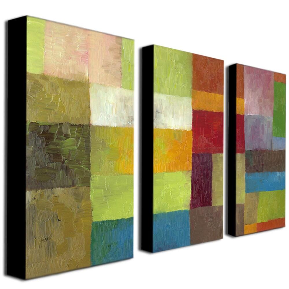 Michelle Calkins 'Abstract Color Panels IV' Canvas Art Set