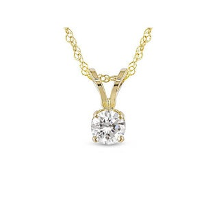 Miadora 14k White or Yellow Gold 1/4ct Diamond Solitaire Pendant (G-H, I1-I2)