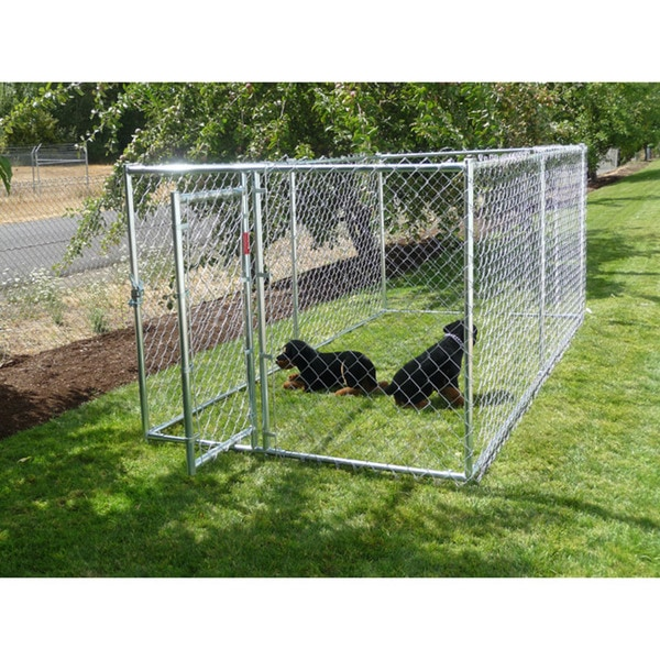 Lucky Dog Galvanized Chain-link Box Kennel with Locking Gate Latch