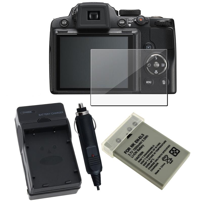 INSTEN Battery/ Charger/ Screen Protector for Nikon CoolPix P500