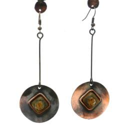 Copper Recycled Glass Round Earrings (Chile)