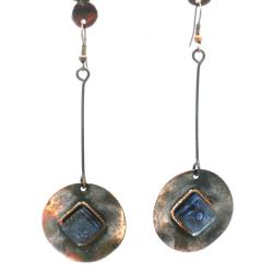 Copper Recycled Blue Glass Round Earrings (Chile)