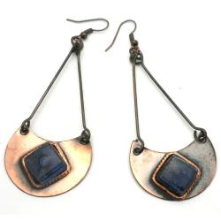 Copper Recycled Blue Glass Half-Moon Earrings (Chile)
