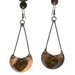 Copper Recycled Brown Glass Half-Moon Earrings (Chile)