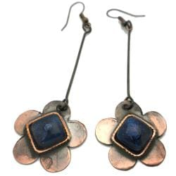 Copper Recycled Blue Glass Flower Earrings (Chile)