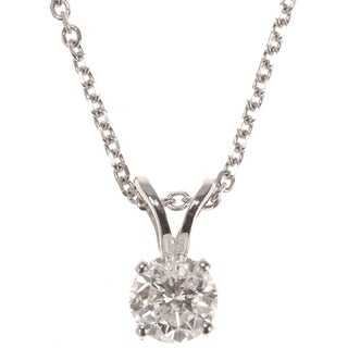 Miadora Signature Collection 14k White or Yellow Gold 1/2ct TDW Certified Diamond Solitaire Pendant (G-H, I1-I2)