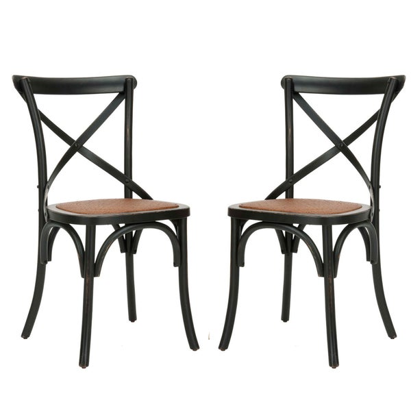 Safavieh Classical Bradford X Back Antiqued Black Side Chairs (Set of 2)