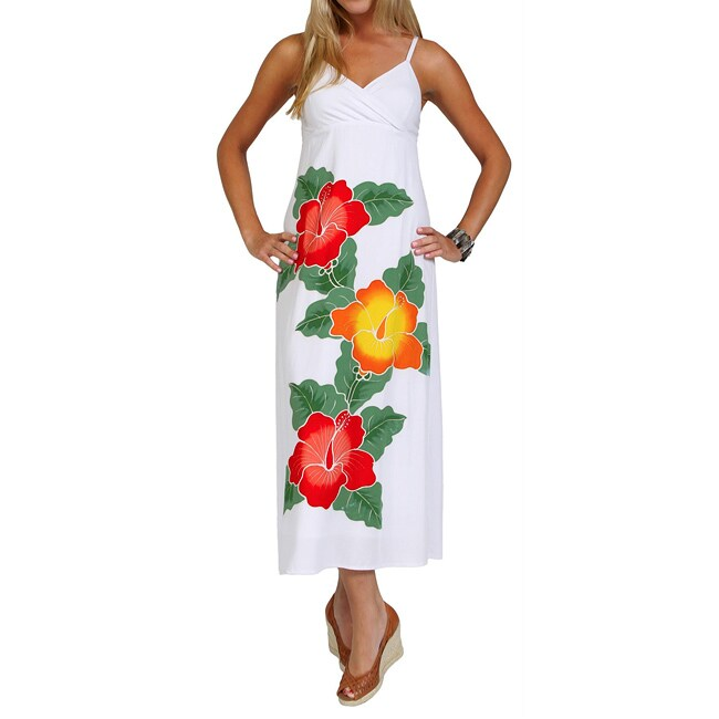 Women's White Hand-painted Hibiscus Floral Dress (Indonesia)