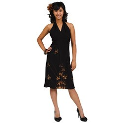 Women's Black Bamboo Halter Sun Dress (Indonesia)