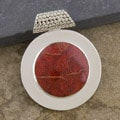 Silver-Plated Red Coral Disc Pendant (Indonesia)