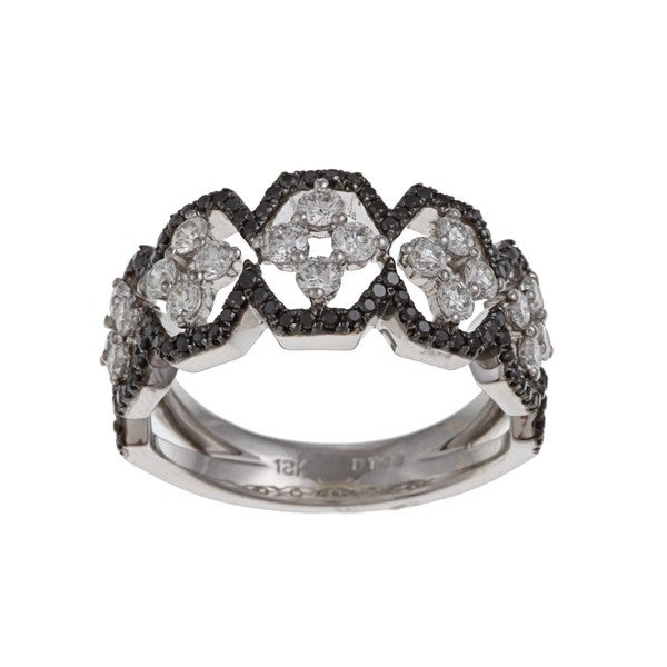 Kabella Luxe 18k White Gold 1ct TDW White and Black Diamond Ring (G-H, VS1-VS2)