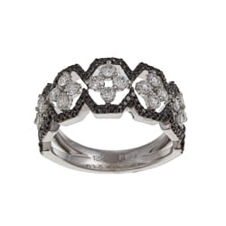 18k White Gold 1ct TDW White and Black Diamond Ring (G-H, VS1-VS2)