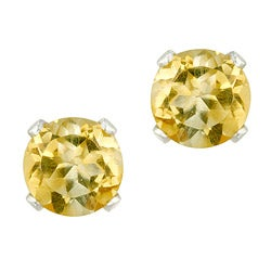 Glitzy Rocks 14k White Gold 4/5ct TGW 5mm Citrine Stud Earrings