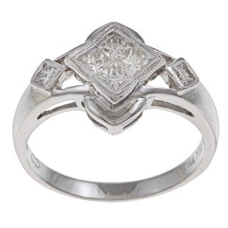 18k White Gold 1/2ct TDW Princess-cut Diamond Ring (H-I, SI1-SI2)