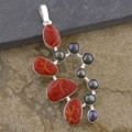 Silver-Plated Red Coral and Tahitian Pearl Pendant (Indonesia)
