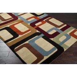 Hand-tufted Contemporary Multi Colored Square Irvine Wool Geometric Rug (7'6 x 9'6)