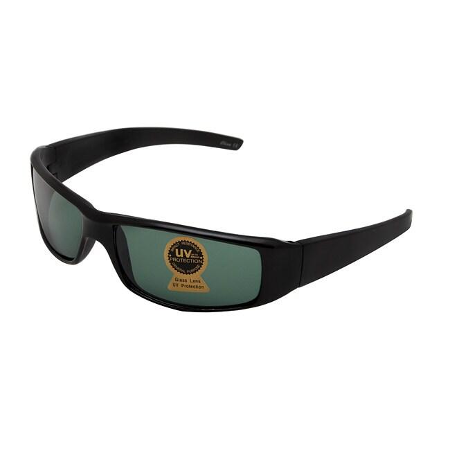 Unisex Onyx Black Fashion Sunglasses with Glass Lenses