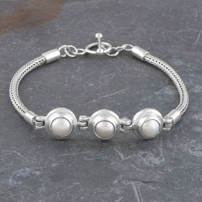 Mabe Pearl Sterling Silver Toggle Bracelet (Indonesia)