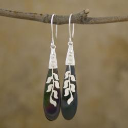 Silver-Plated Mother of Pearl 'Leaves' Earrings (Indonesia)