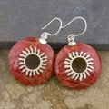 Red Coral Silverplated Brass 'Starburst' Round Earrings (Indonesia)