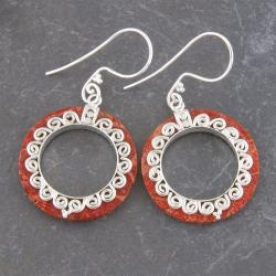 Silver-Plated Red Coral 'Waves' Round Earrings (Indonesia)
