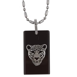 Stainless Steel Black and Brown Resin Panther Face Necklace