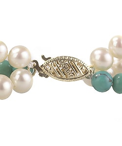 14K Gold White Cultured FW Pearl and Turquoise Necklace (4-5 mm/ 16 in)