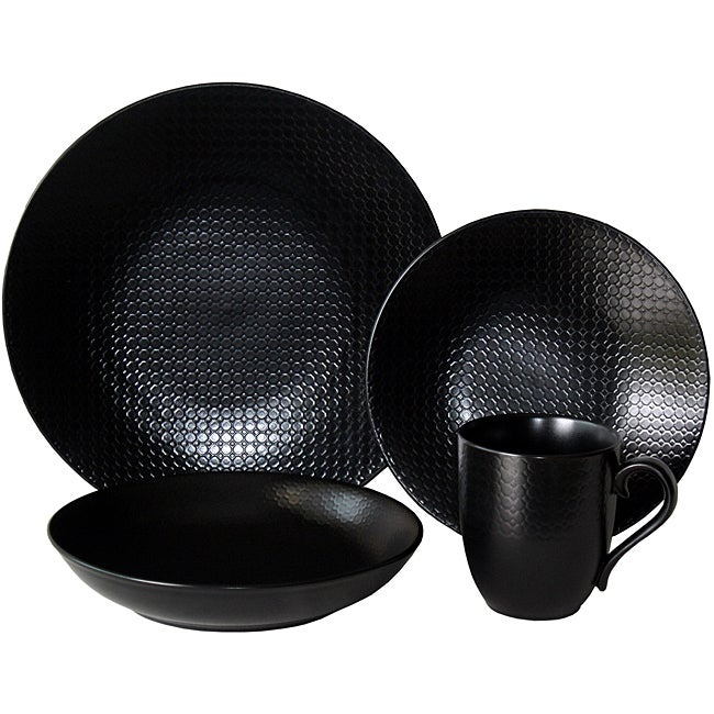 Red Vanilla Morocco Black 16-piece Dinner Set