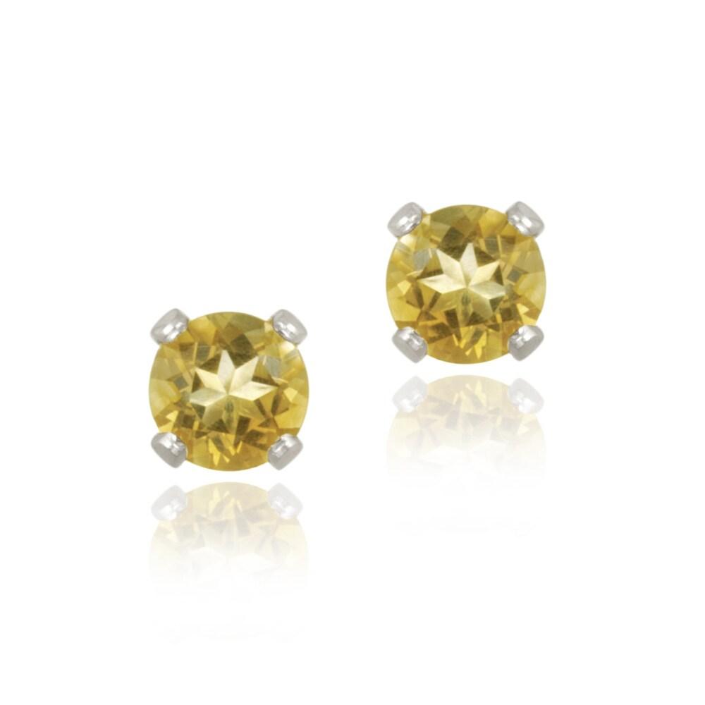 Glitzy Rocks 14k White Gold 1/2ct TGW 4mm Citrine Stud Earrings