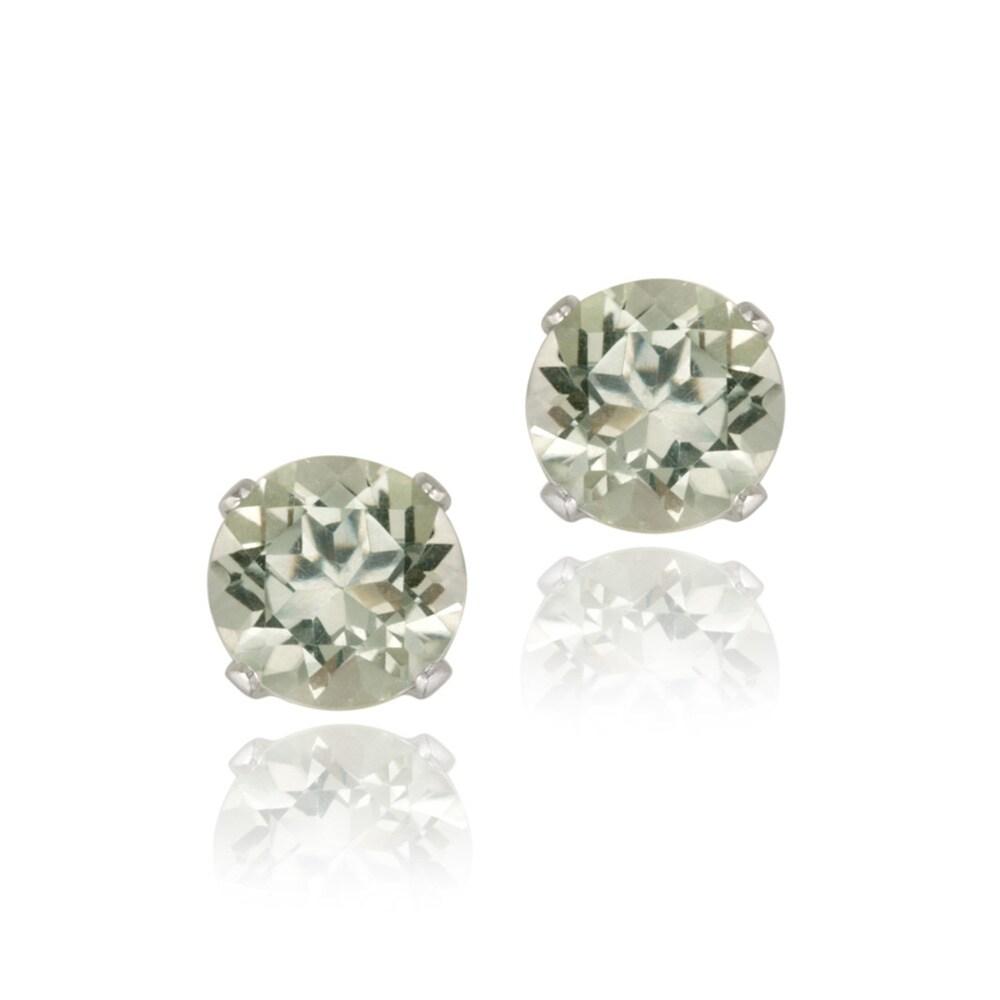 Glitzy Rocks 14k White Gold 1 1/2ct TGW 6mm Green Amethyst Stud Earrings