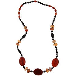 Pearlz Ocean Agate, Carnelian and Black Glass 30-inch Necklace