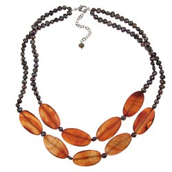 Pearlz Ocean Red Agate and FW Pearl 29-inch Necklace (4-6 mm)