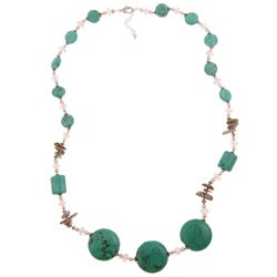 Pearlz Ocean Turquoise Howlite, Jasper and FW Pearl Necklace (3 mm)