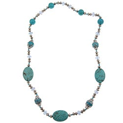 Pearlz Ocean Howlite, Reconstituted Turquoise and Glass Necklace