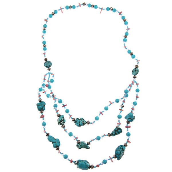 Pearlz Ocean Faux Turquoise and Howlite 3-Row Bib Necklace 8349906