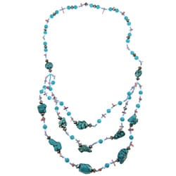 Pearlz Ocean Faux Turquoise and Howlite 3-Row Bib Necklace